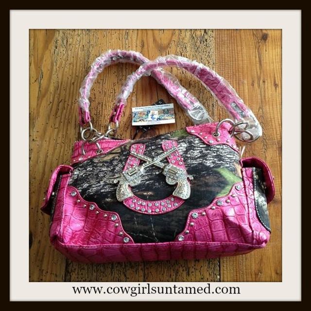 CAMO COWGIRL HANDBAG Camo Canvas Pink Leather Rhinestone Silver Studded Western Handbag