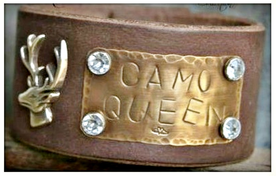 """CAMO COWGIRL CUFF """"Camo Queen"""" Rhinestone Studded Deer Concho Brown Leather Bracelet"""
