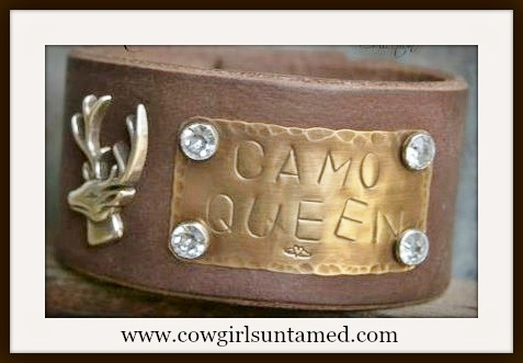 "CAMO COWGIRL CUFF ""Camo Queen"" Rhinestone Studded Deer Concho Brown Leather Bracelet"