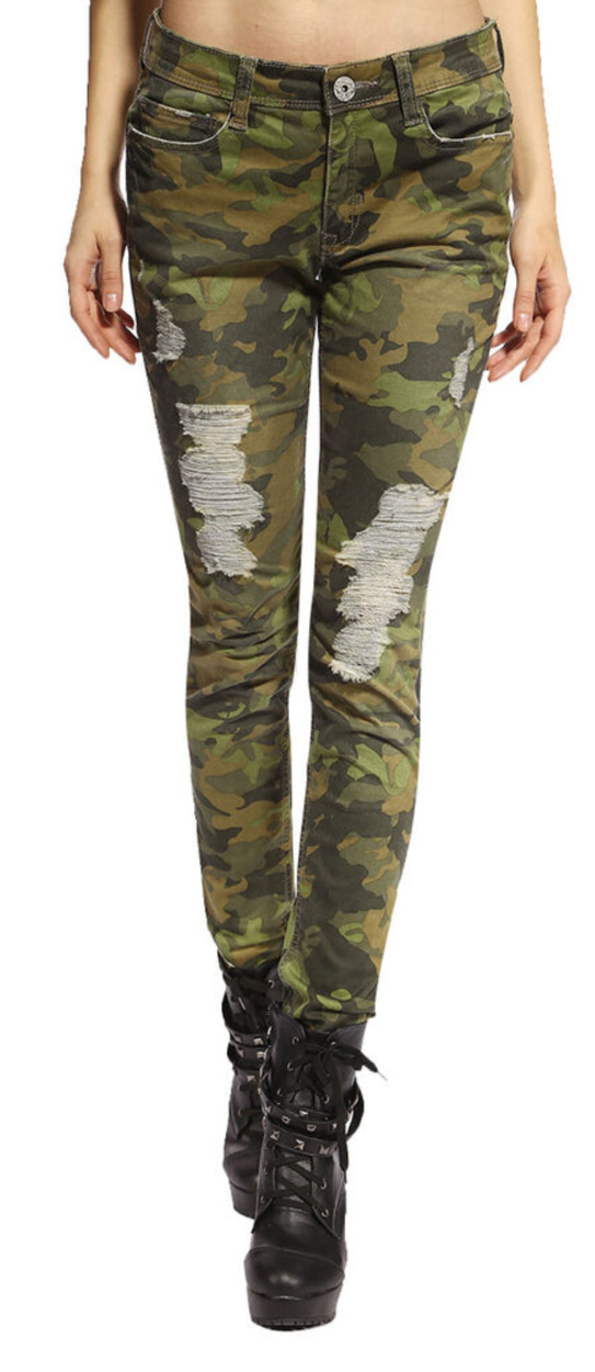 CAMO COWGIRL PANTS Stretchy Camouflage Distressed Skinny Jeans ONLY 3 PAIRS LEFT!