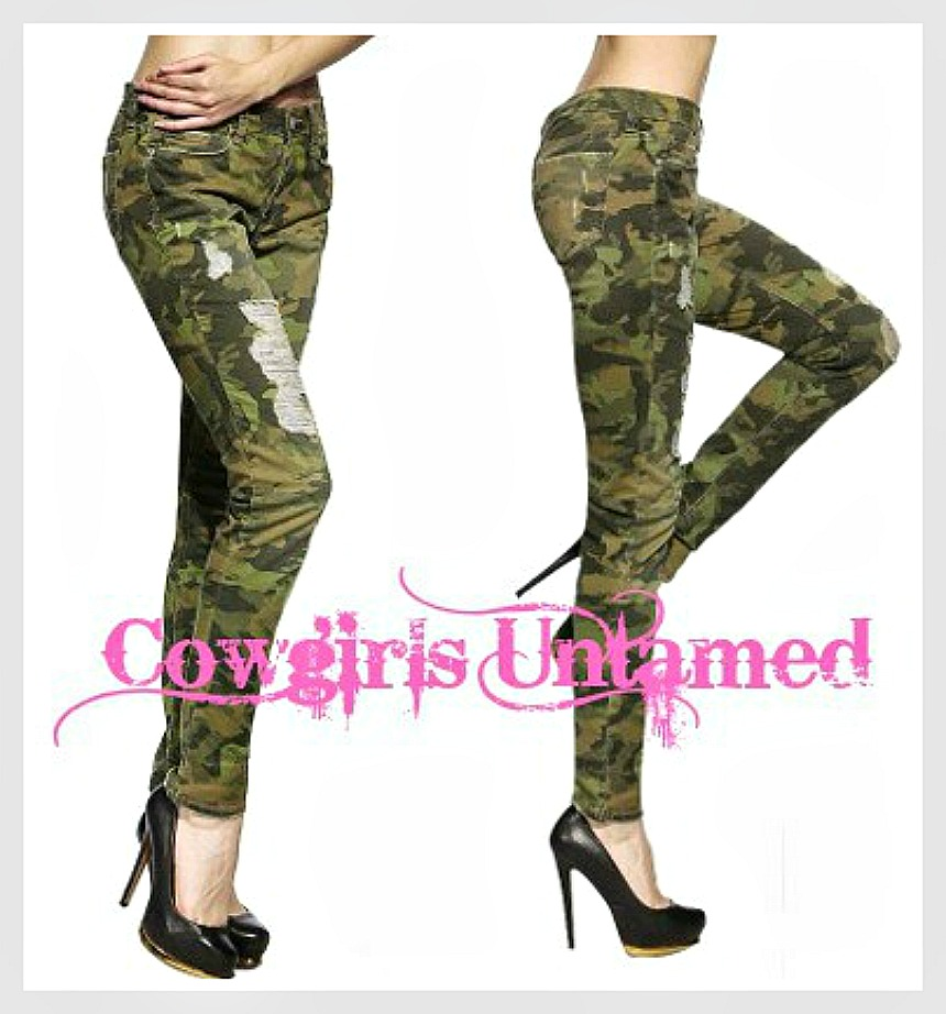 CAMO COWGIRL PANTS Stretchy Camouflage Distressed Skinny Jeans