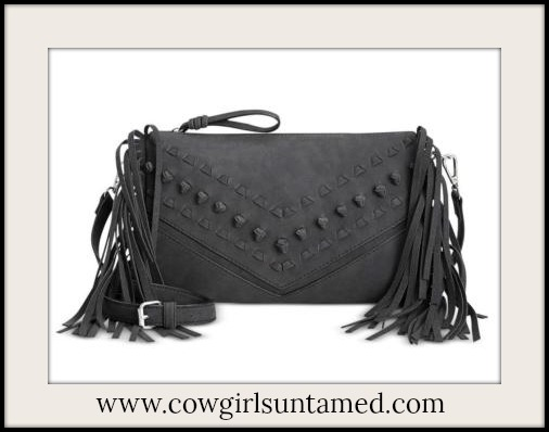 DESIGNER HANDBAG Charcoal Grey Knots and Stitches Designer Fringe Messenger Bag