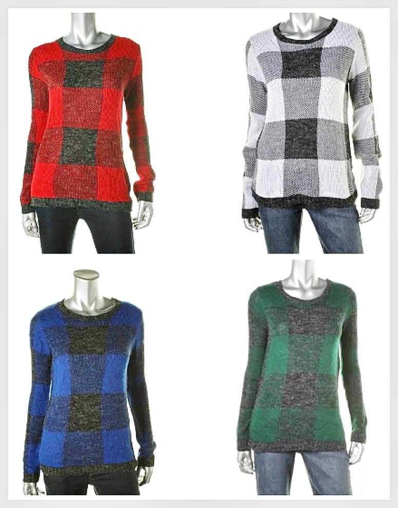 OH MG SWEATER Plaid Designer Pullover Boatneck Sweater