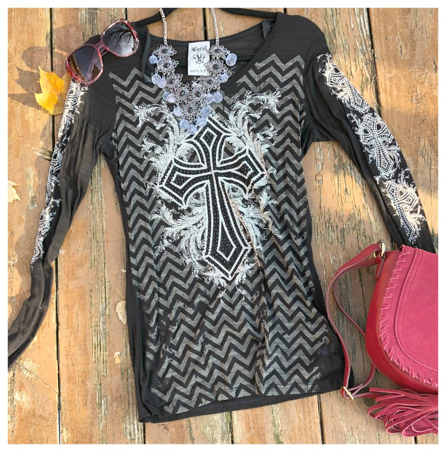COWGIRL FAITH TOP Chevron Striped Black Crystal Cross Long Sleeve Scoop Neck VOCAL T-Shirt Top 2 LEFT S/M