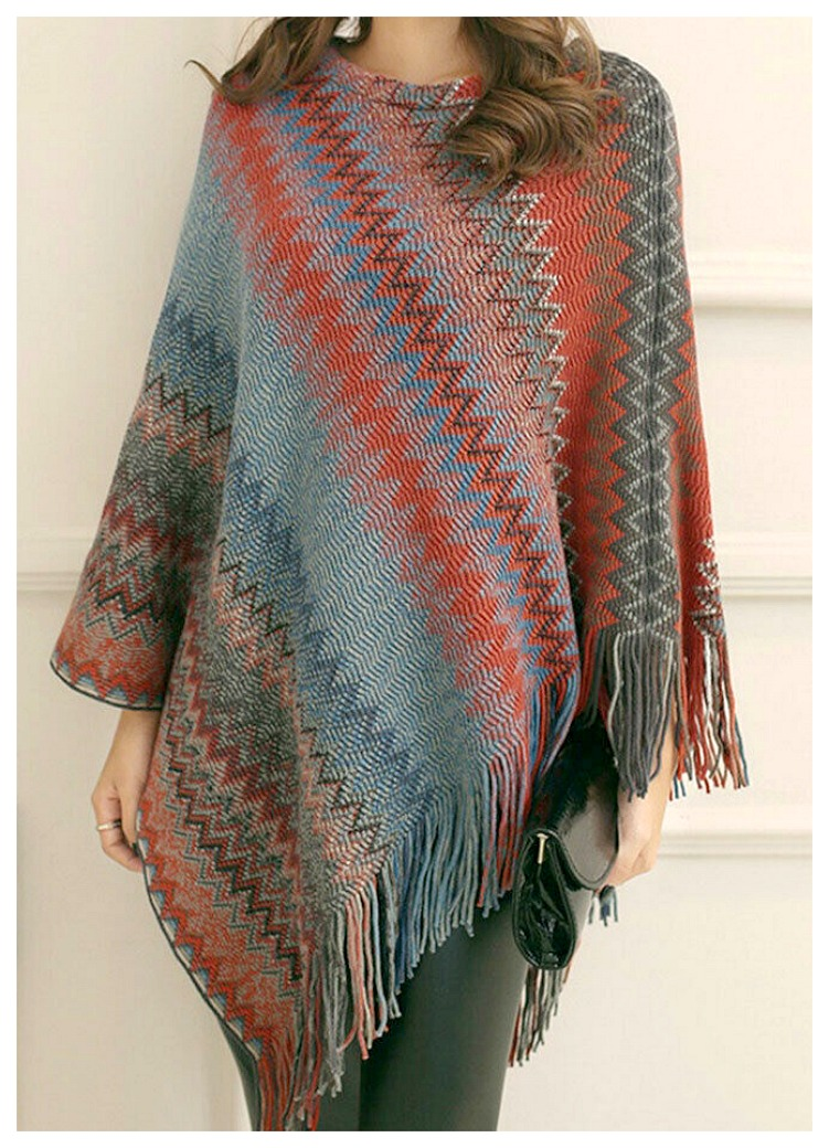 THE NOVIA PONCHO Multi Color Fringe Knit Poncho  1 LEFT! Orange