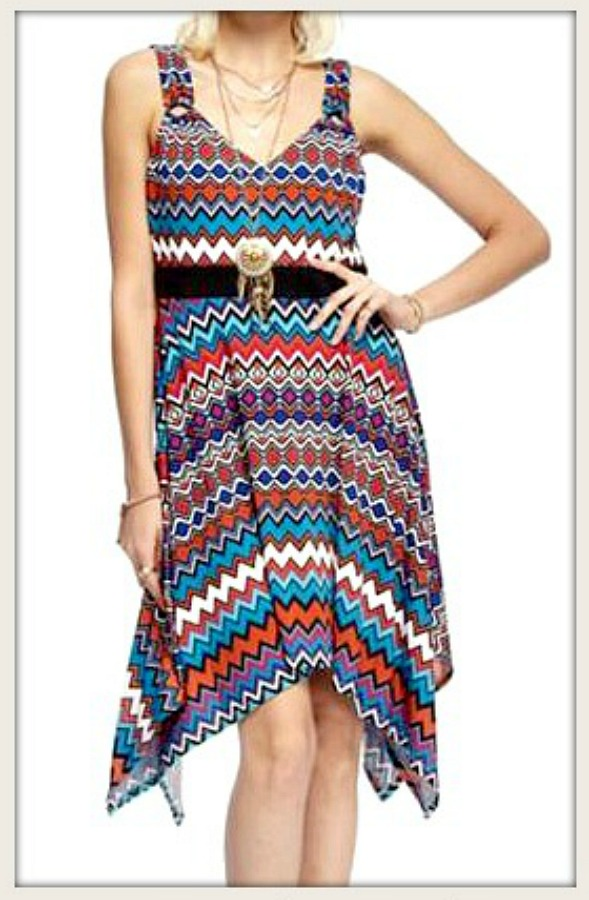 COWGIRL GYPSY DRESS Multi Color Chevron High Low Sleeveless Dress