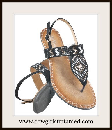 BOHO CHIC SANDALS Crystal Sparkle Chevron Black Leather Sandals