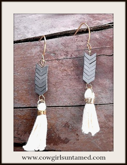 BOHEMIAN COWGIRL EARRINGS Grey Chevron & Beige Tassel Boho Dangle Gold Earrings