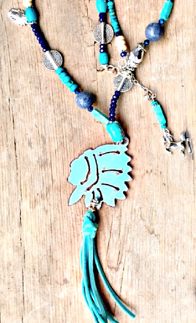 WESTERN CHARM NECKLACE Metal Indian Chief Head Aqua Leather Tassel Pendant Blue Turquoise Beaded Silver Charm Necklace