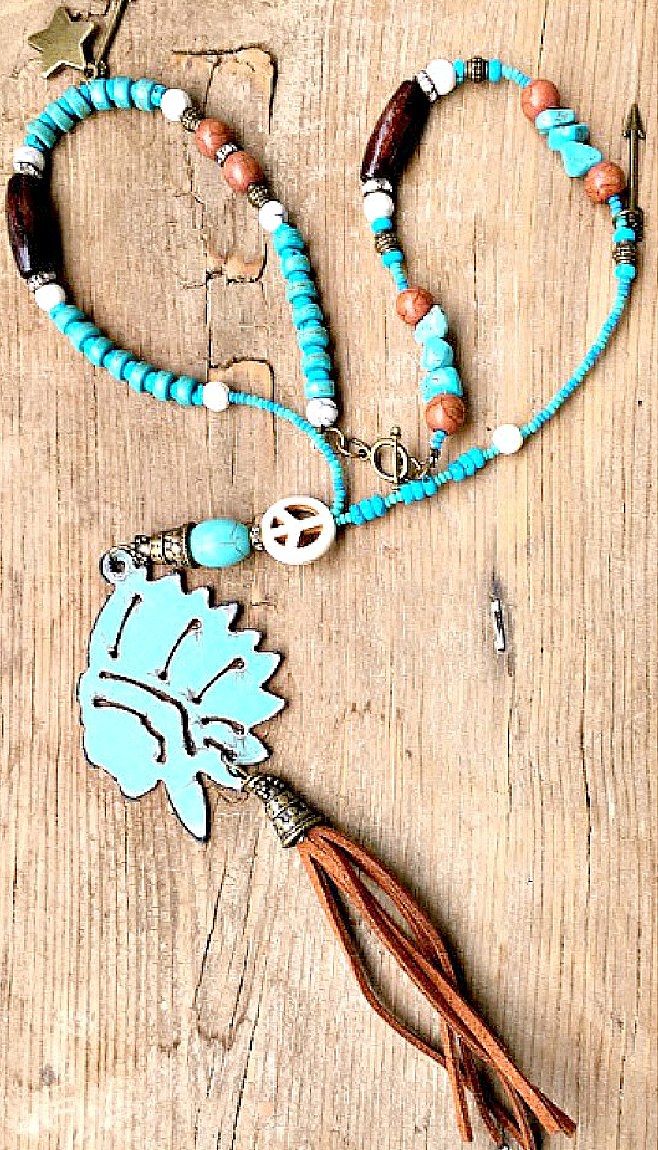 WILD WEST NECKLACE Metal Indian Chief Head Brown Leather Tassel Pendant Turquoise Beaded Antique Bronze Arrow Star Charm Necklace