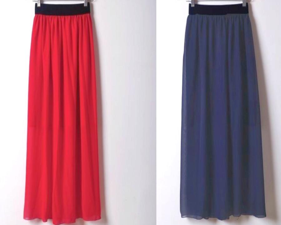 BOHO MAXI SKIRT Sheer Chiffon Lined Elastic Waist Womens Maxi Skirt 2 COLORS