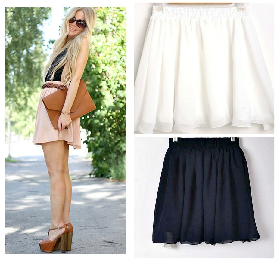 FOR THE MOMENT SKIRT Flirty Lined Chiffon Elastic Waist Mini Skirt  3 Colors