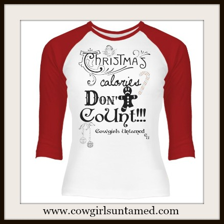 """COWGIRL CHRISTMAS TOP """"Christmas calories DON'T CoUnt!"""" Rhinestone Candy Cane Baseball Style 3/4 Sleeve Green T-Shirt"""