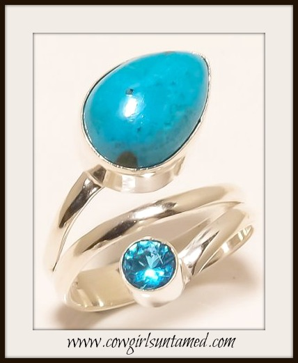 COWGIRL GYPSY RING Chrysocolla and Blue Topaz Sterling Silver Ring