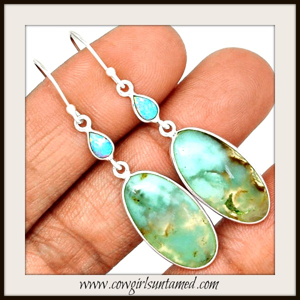 COWGIRL GYPSY EARRINGS Chrysoprase & Fire Opal Sterling Silver Earrings