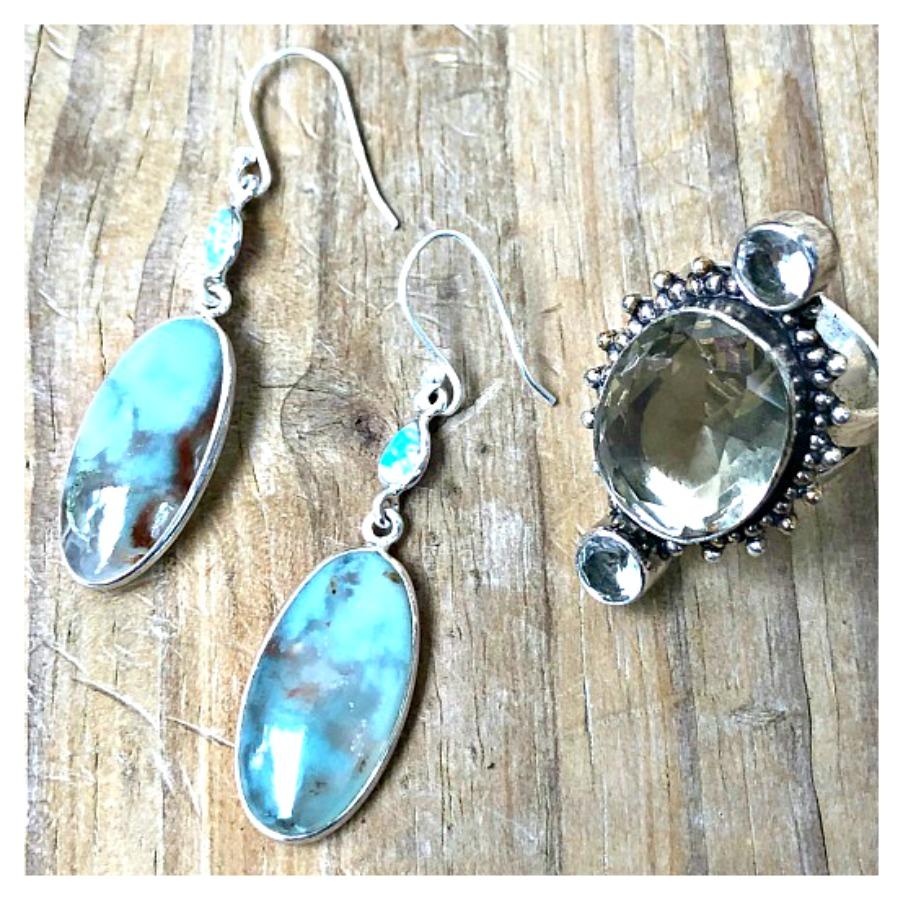 COWGIRL GYPSY EARRINGS Chrysoprase & Fire Opal Sterling Silver Earrings