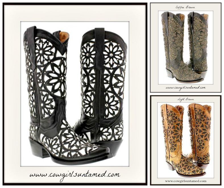 COWGIRL STYLE BOOTS Studded Floral Overlay GENUINE LEATHER Boots  3 COLORS!