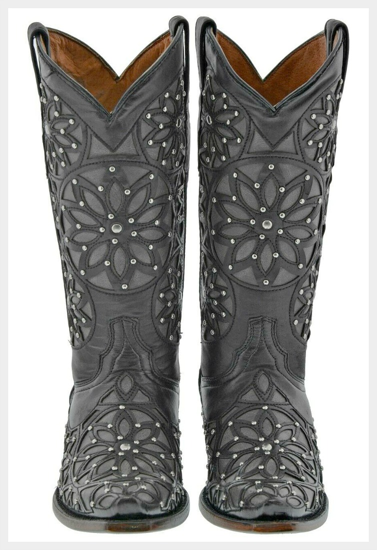 COWGIRL STYLE BOOTS Black Silver Studded Floral Overlay GENUINE LEATHER Western Boots Sizes 6,7,8,9
