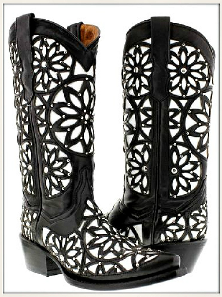 COWGIRL STYLE BOOTS Black & White Studded Floral Overlay GENUINE LEATHER Boots