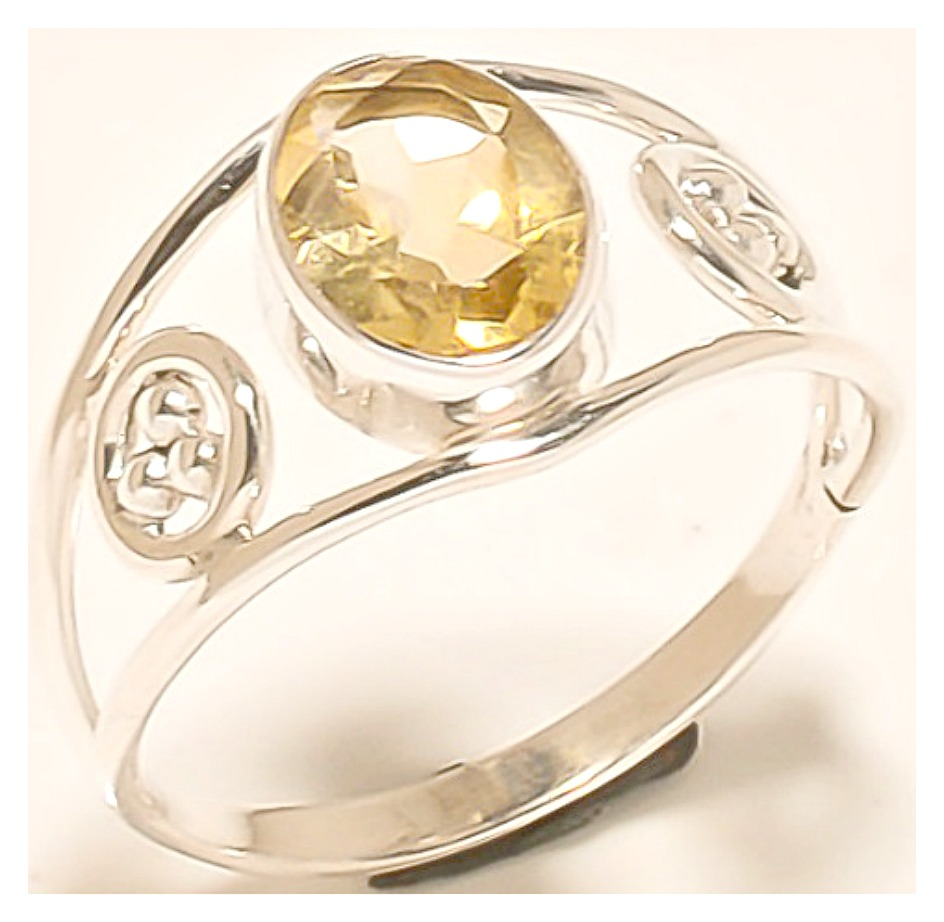 VINTAGE GYPSY RING Yellow Gemstone 925 Sterling Silver Hand made Cut Citrine