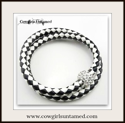 NO PLAIN JANE HERE BRACELET Checkered Braided Leather with Clear Rhinestone Magnetic Closure
