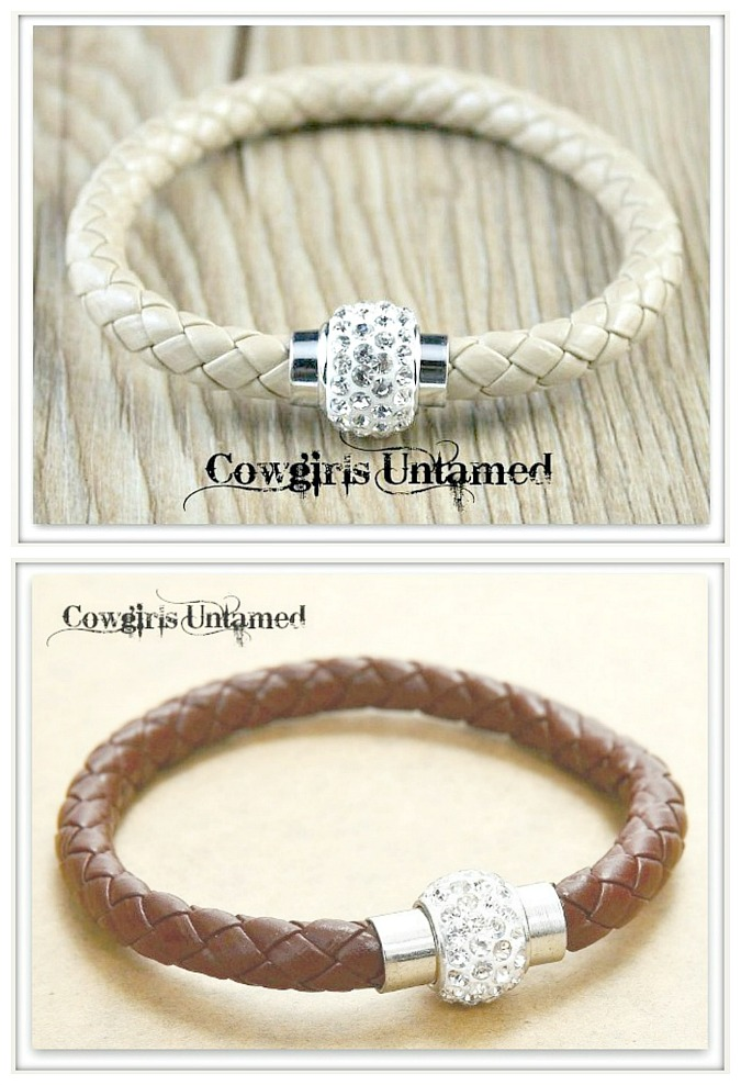 NO PLAIN JANE HERE BRACELET Brown or Grey Braided Leather Rhinestone Magnetic Closure Bracelet