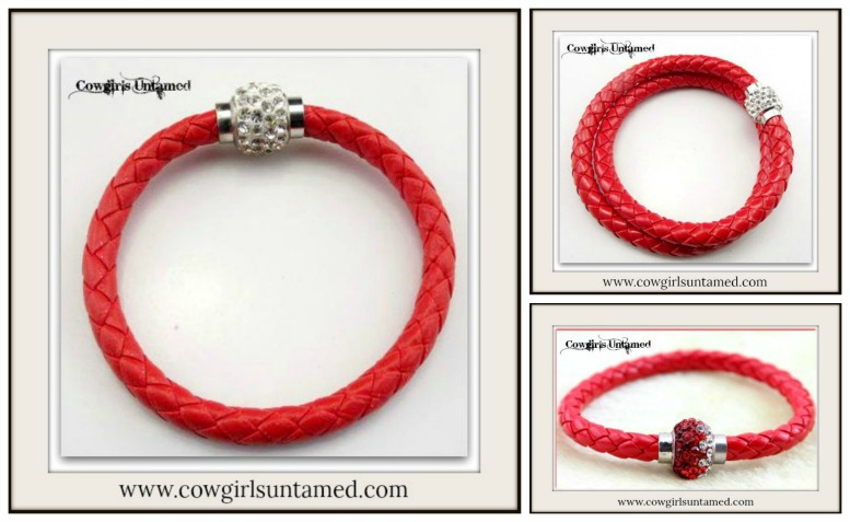 NO PLAIN JANE HERE BRACELET RED Braided Leather Rhinestone Silver Magnetic Closure on  Bracelet  3 STYLES!