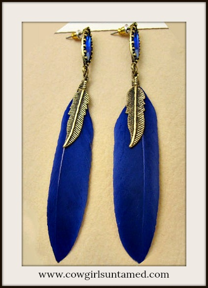 BOHEMIAN COWGIRL EARRINGS Cobalt Blue Feather Antique Bronze Long Earrings