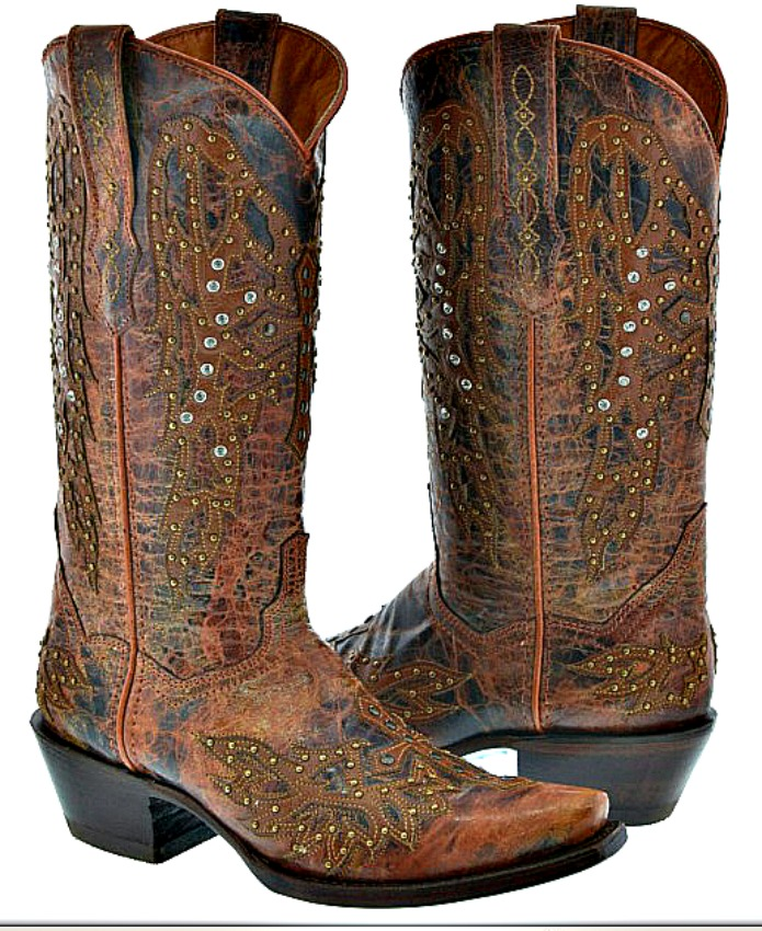 COWGIRL STYLE BOOTS Crystal & Bronze Studded Winged Cross Cognac Brown GENUINE LEATHER Western Boots