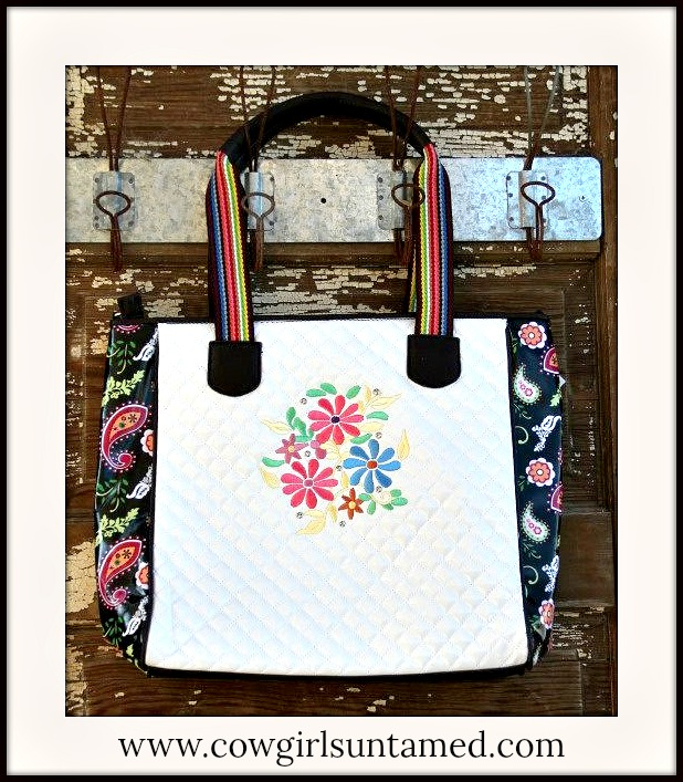 COWGIRL GYPSY TOTE Colorful Paisley Embroidered Hot Pink Yellow N Blue Flowers White Quilted Tote
