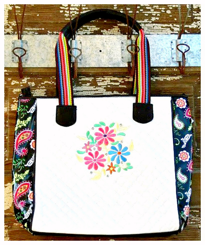 COWGIRL GYPSY BEACH BAG Colorful Paisley Embroidered Hot Pink Yellow N Blue Flowers White Quilted Vinyl Tote