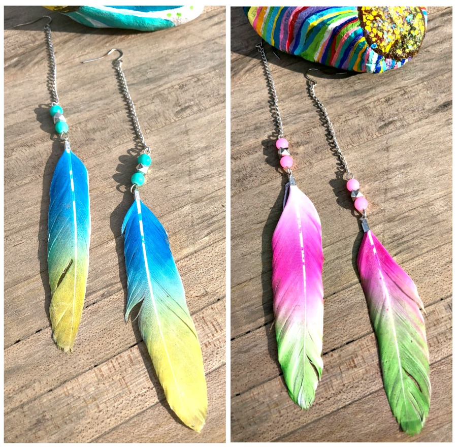 BIRDS OF A FEATHER EARRINGS Colorful Long Silver Beaded Feather Boho Earrings 2 COLORS