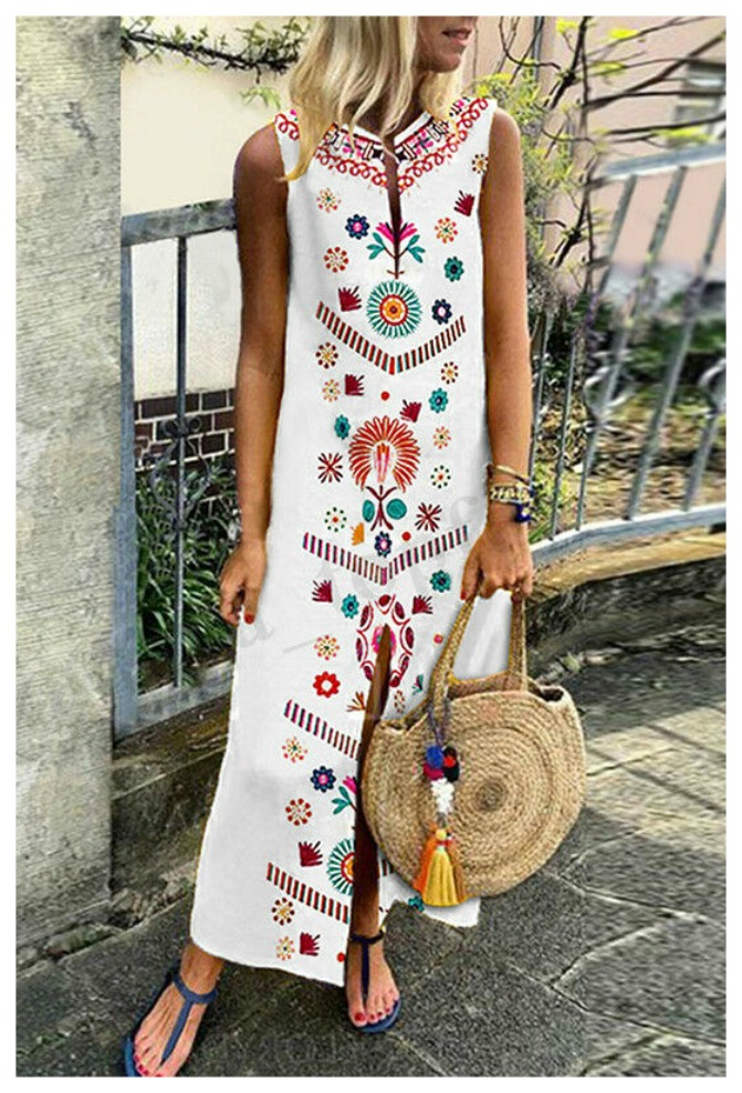 THE MAYA DRESS Multi Color Print Sleeveless Slit White Boho Maxi Dress Misses & Plus Sizes