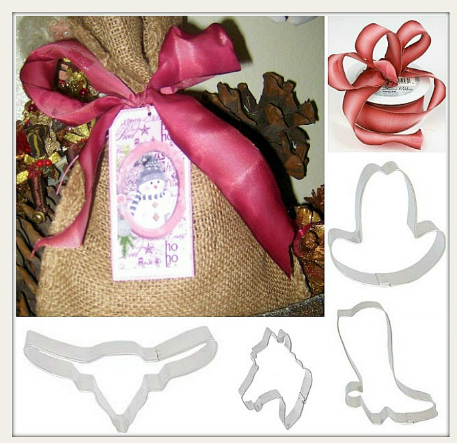 COWGIRL CHRISTMAS BAKER'S GIFT BAG  Metal Western Cookie Cutter SET with FREE Burlap Gift Bag N' Bow
