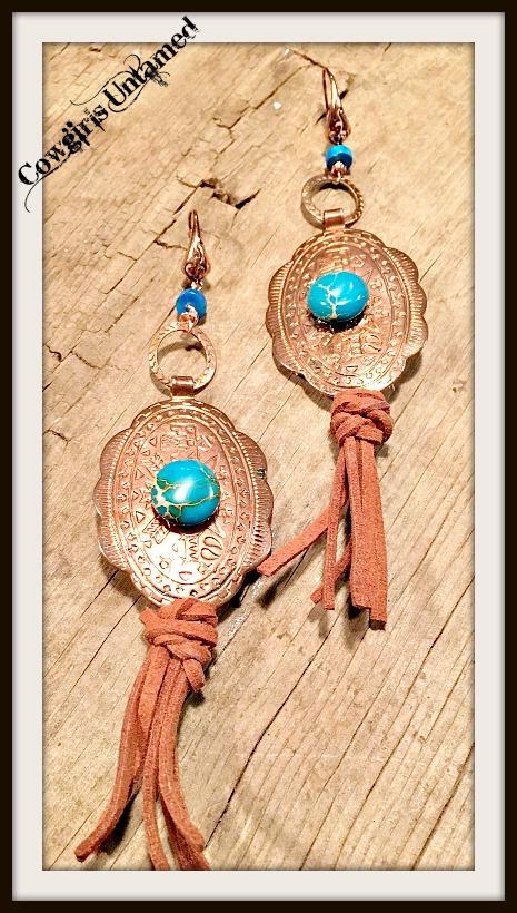 COWGIRL GYPSY EARRINGS Vintage Copper Concho Genuine Leather Blue Jasper Earrings