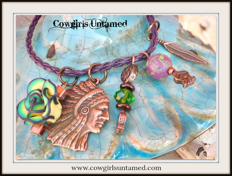 COWGIRL STYLE BRACELET Copper Indian Chief & Crystal Charms Purple Leather Bracelet