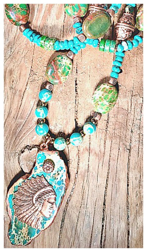 GYPSY SOUL NECKLACE Copper Indian Chief on Large Jasper Pendant Gemstone Beaded Necklace