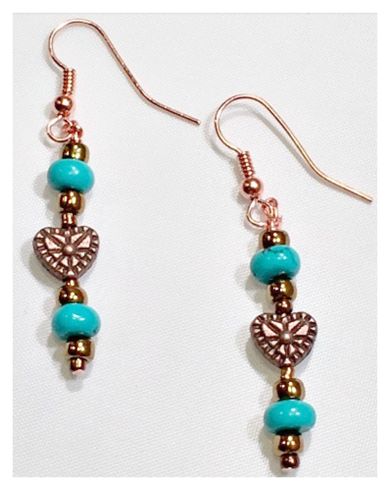 GYPSY SOUL EARRINGS Copper Heart and Metallic Copper and Blue Jasper Earrings