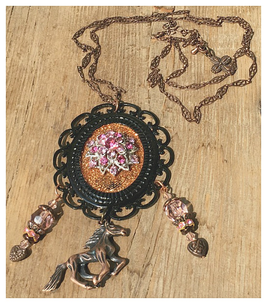 VINTAGE COWGIRL NECKLACE Pink Rhinestone Flower Cameo Antique Copper Horse Heart Crystal Charm Necklace