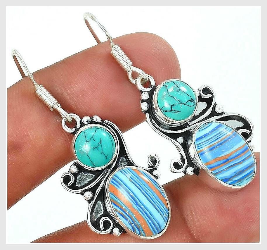 BOHEMIAN COWGIRL EARRINGS Copper Turquoise Stripe 925SS Earrings