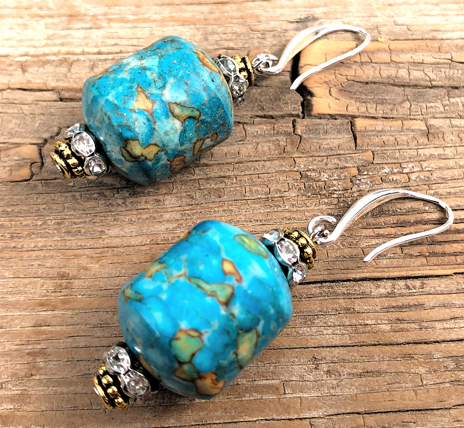 COWGIRL GLAM EARRINGS Handmade Copper Turquoise Rhinestone Gold & Silver Dangle Earrings