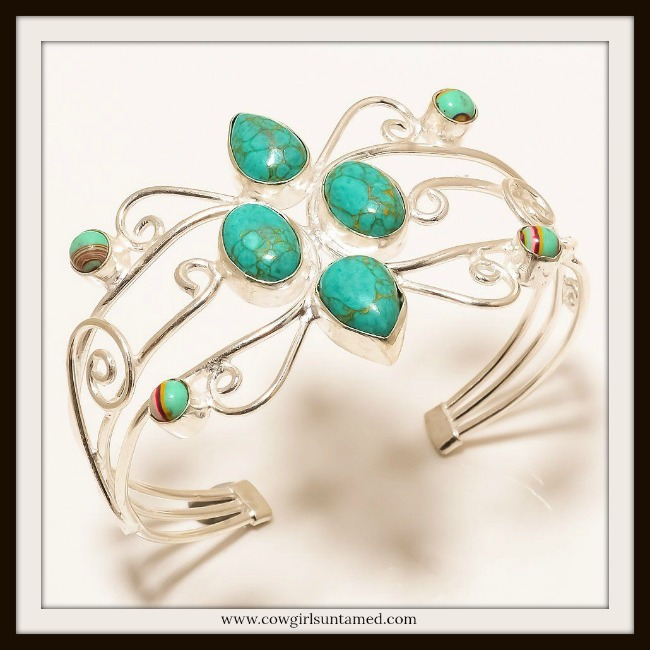 BOHEMIAN COWGIRL BRACELET  Copper Turquoise, Rainbow Calsilica Gemstone .925 Sterling Silver Cuff