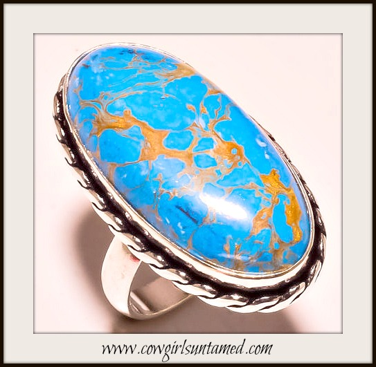 COWGIRL GYPSY RING Blue Copper Turquoise Sterling Silver Oval Ring