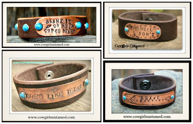 COWGIRL GYPSY BRACELET Copper & Brown Leather Turquoise Cuff  4 DESIGNS!