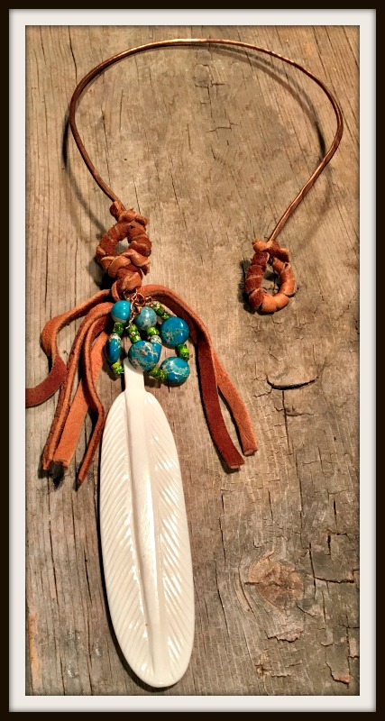 GYPSY SOUL NECKLACE Large Bone Feather Pendant with Leather & Gemstone Hoops Copper Necklace