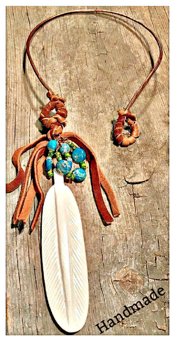GYPSY SOUL NECKLACE Handmade Large Bone Feather Pendant Leather Tassel & Gemstone Copper Necklace