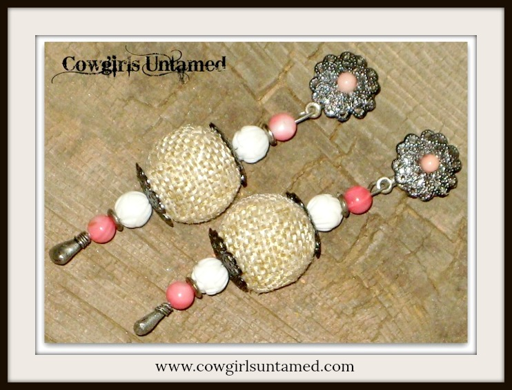 COUNTRY COWGIRL EARRINGS Genuine Coral White Shell Antique Silver Long Western Earrings