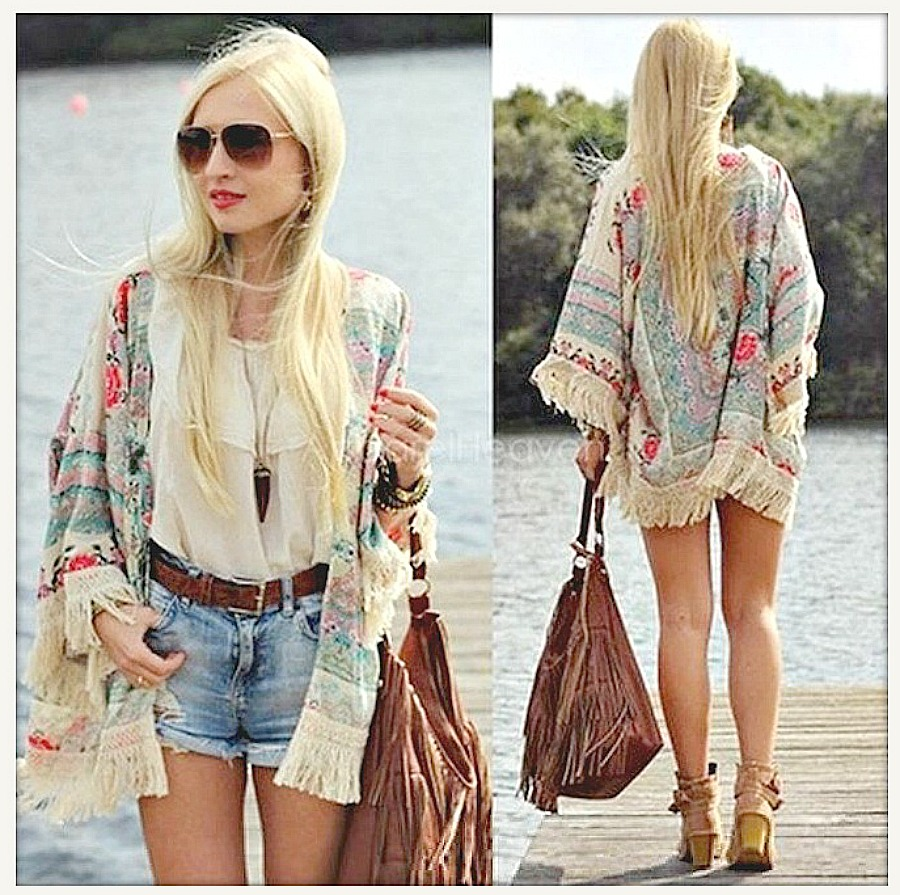 COWGIRL GYPSY JACKET Coral Aqua Fuchsia Vintage Floral Chiffon Lace Crochet Fringe Kimono Jacket LAST ONE!