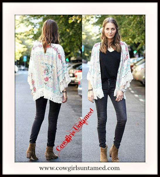 e2a85c09cd2 Vintage Floral Print with Cream Lace Crochet Fringe Chiffon Open Kimono  Jacket