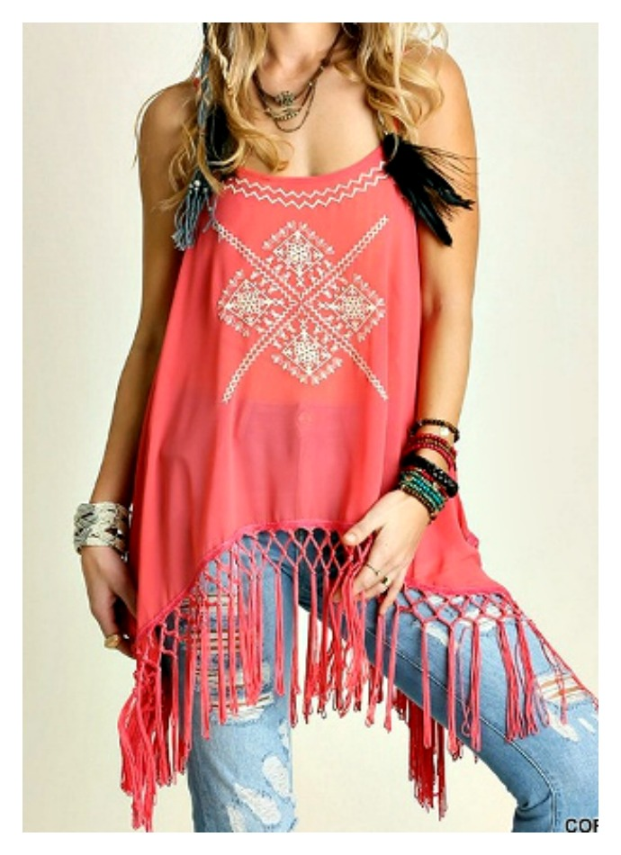 ON the FRINGE TOP Coral Fringe Embroidered Boho Top
